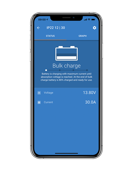 Blue Smart IP22 Charger on Victron Connect mobile app